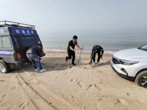 车辆陷入沙滩